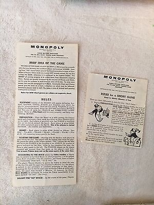 Vintage Parker Brothers Monopoly Directions C. 1936