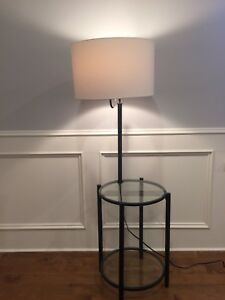 Lamp with glass table top