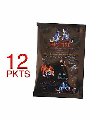 BIG FIRE Campfire Colorant 12 Pack Packets Campfire Flame Color Camping Mystical