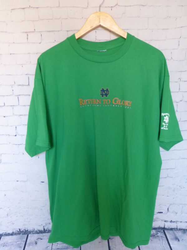 Notre Dame Football 2002 Return To Glory Green Men's T-Shirt Size L- XL