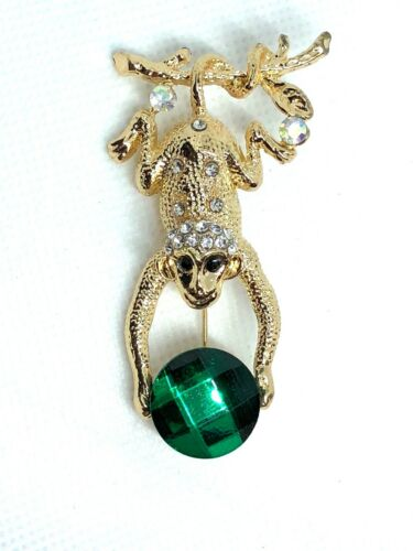 "Monkey Brooch pin green clear rhinestone gold tone1.5""x1.25"" gift mothers day #1"