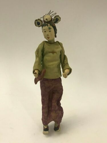 """Asian Chinese Composition 11"""" Doll Woman with Unique Hat Platform Shoes Hankie"""