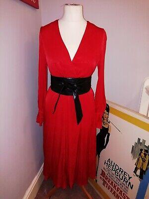 H&M Silky Red Wrap Midi Dress, UK 10-12
