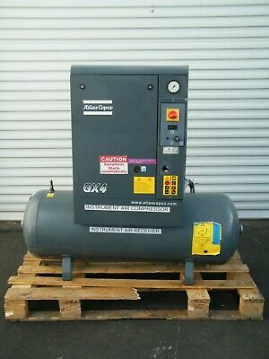 2014 Atlas Copco Gx4p 5 Hp Rotary Screw Air Compressor Tank Kaeser Sullair