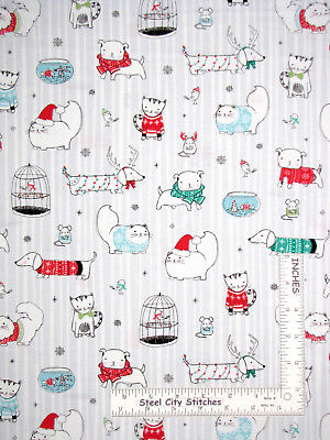 Christmas Dog Cat Bird Stripe Cotton Fabric Ink&Arrow Mingle Jingle By The Yard