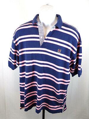 Tommy Hilfiger VTG 90's Men Large Blue Stripe Short Sleeve Casual Polo Shirt B13