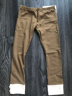NWT!!! Persnickety Girls Brown Tab Button Leggings Size 7 Years - Girls Brown Leggings