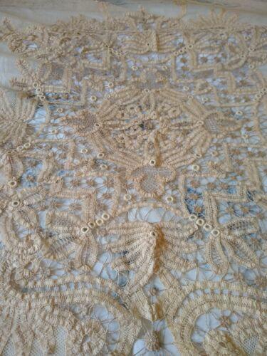 Antique Lace Bedspread / Edwardian / Battenburg / Excellent