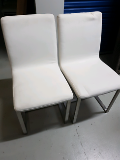 8 X White Kitchen Dining Chairs, VERY COMFY!!!!