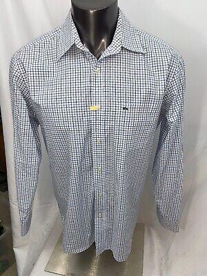 Lacoste Mens Size 42 Blue Check Button Front Shirt Pocket
