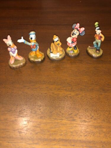 NEW DISNEY ANRI Hand Carved Wood Figurines Minnie, Daisy, Donald, Pluto,Goofy 1""