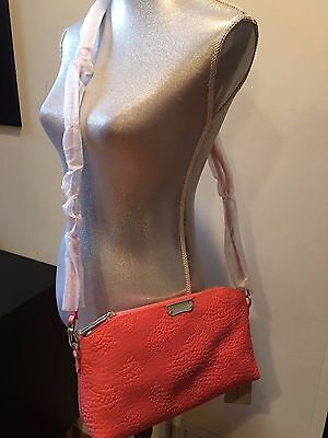 NEW BURBERRY GRAIN CHECK CHICHESTER PINK LEATHER SHOULDER BAG