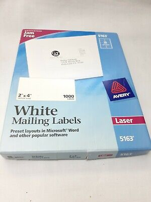 Avery Laser Shipping Labels 5163 2 X 4 New Opened Box Of 1000