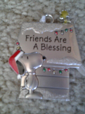 SANTA SNOOPY & WOODSTOCK DOGHOUSE PEWTER CHRISTMAS ORNAMENT