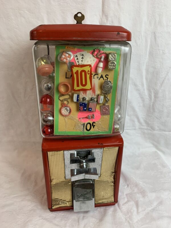 Vintage Northwestern Dime Gumball Vending Machine 60's-70's With Original Toys!