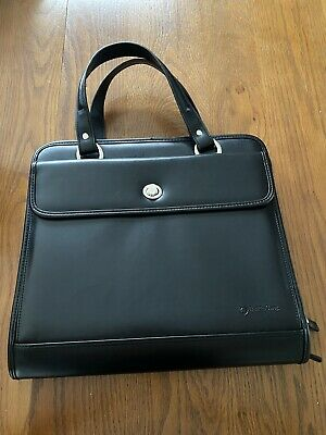 Franklin Covey Quest Binder Black Leather Classic Planner Organizer Zipper Lg.