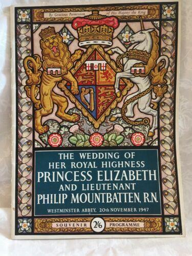 1947 WEDDING OF HRH PRINCESS ELIZABETH & PHILIP MOUNTBATTEN Souvenir Programme