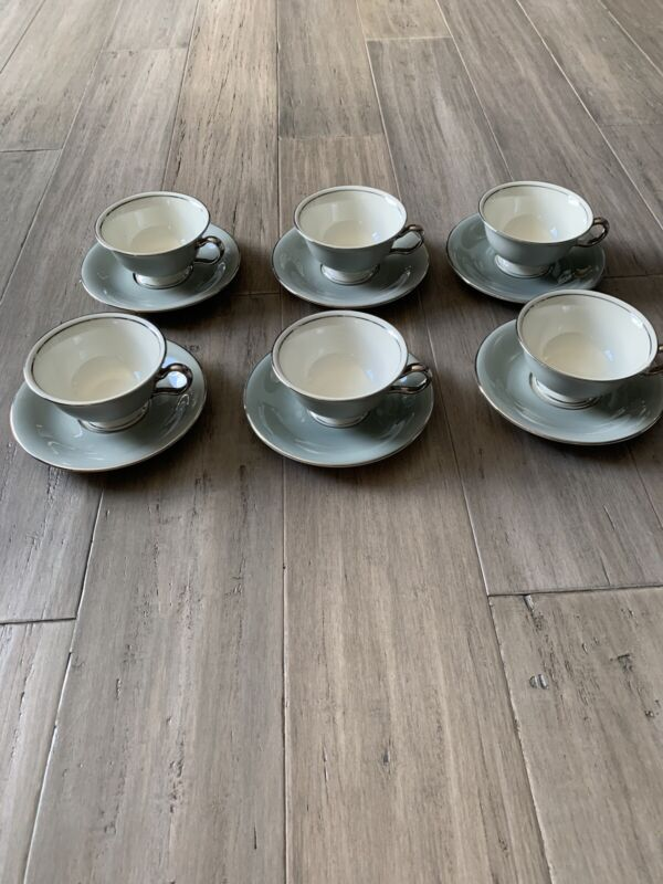 6 CASTLETON CHINA.. LYRIC.. COFFEE TEA CUP AND SAUCER..GRAY AND SILVER TRIM