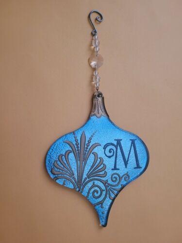 "Decorative Glass Initial Monogram Ornament Letter ""M"" Blue w/ Gold Design GUC"