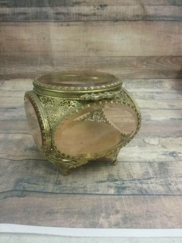 Vintage Gold Beveled Oval Pink Glass Filigree Casket Trinket / Jewelry Box