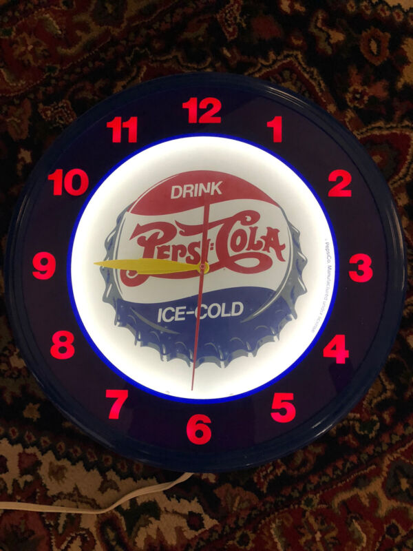 Pepsi Cola Neon wall Clock Very Good Condition USA Made Vintage Advertising