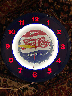 Pepsi Cola Neon wall Clock Very Good Condition USA Made Vintage Advertising