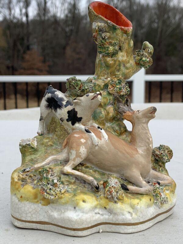 19th Century Antique Staffordshire Pottery Deer Dog Spill Vase