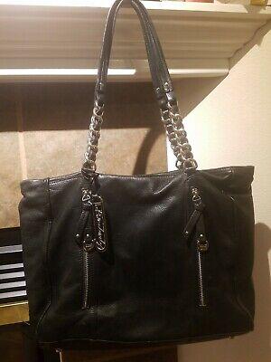 GUC B makowsky Black Pebbled Leather Large Shoulder Tote Bag Chain Strap