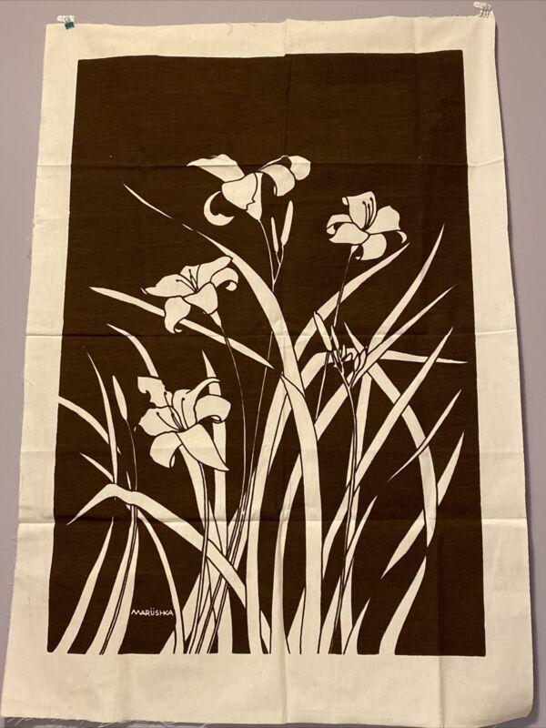 "Vintage 1970s Linen Textile Fabric Lilies Art Screen Print Marushka  31""x 46"""
