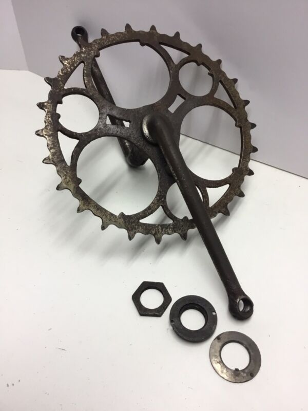 "Prewar Bicycle Skiptooth Sprocket & Crankset 28"" Motobike Wooden Wheel Bike"