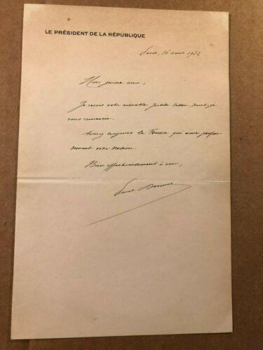 Paul Doumer Pres. France Very Rare Autographed Letter