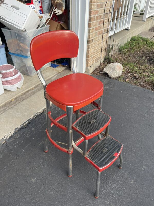 Vintage COSCO Kitchen Step Stool Chair Red Metal Pull Out Steps