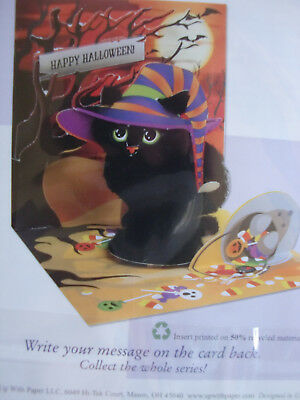 HALLOWEEN 3D POP-UP GREETING CARD - SPOOKY CAT - BY - UP WITH PAPER RETAILS 6.99 - Halloween Animated Greetings