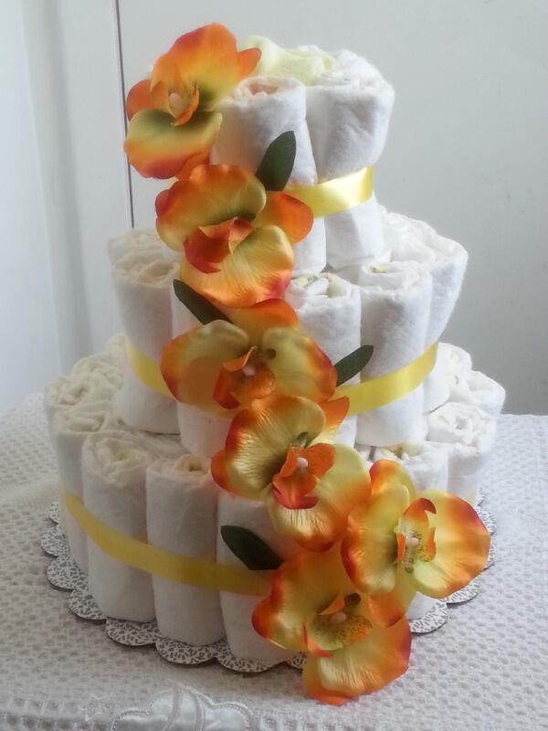 3 Tier Diaper Cake Yellow Floral Flower Baby Shower Centerpiece - Unisex