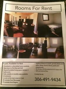 Furnished rooms for rent. In Craik Saskatchewan
