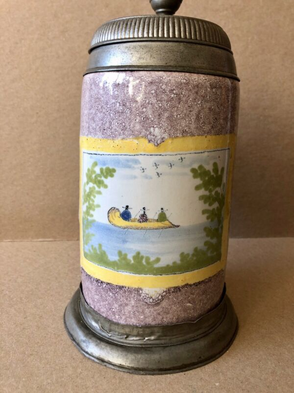 1835 German Tin Glazed Earthenware Tankard, Pewter Mounts, Boating Scene, Stein