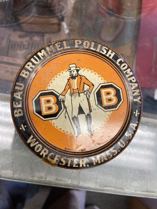 Orig 1920s BEAU BRUMMEL SHOE POLISH Orange Litho ADVERTISING TIN