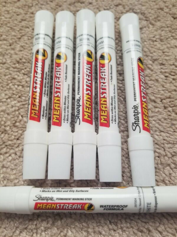 6 pc Sharpie Meanstreak White Permanent Marking Stick, Extra Bold Bullet Tip