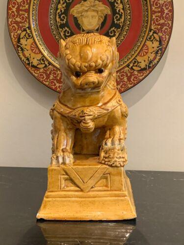 Fine Old Chinese Mustard Glazed Ceramic Foo Dog Statue Sculpture