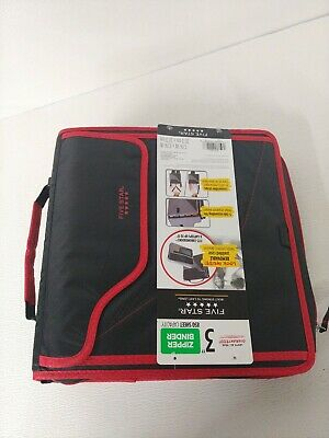 New Five Star 3 Zipper Binder 3 Ring Binder Folders Tab Folders Laptop Red F3