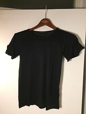 J Crew Black Linen T-Shirt, XXS