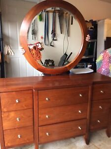 Beautiful Antique Style Dresser with Round Mirror - solid wood.