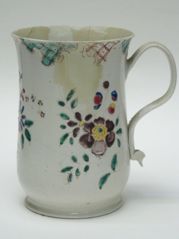 RARE ANTIQUE c. 1750 POLYCHROME ENAMEL PAINTED SALT GALZE STONEWARE TANKARD