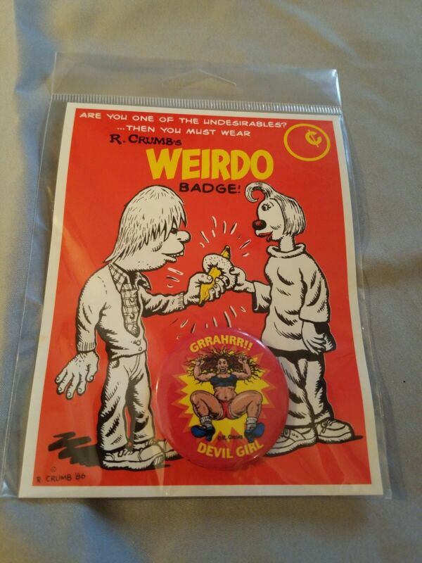 R. Crumb Weirdo Badge Backing Card GRRAHRR!! DEVIL GIRL Pin Factory Sealed
