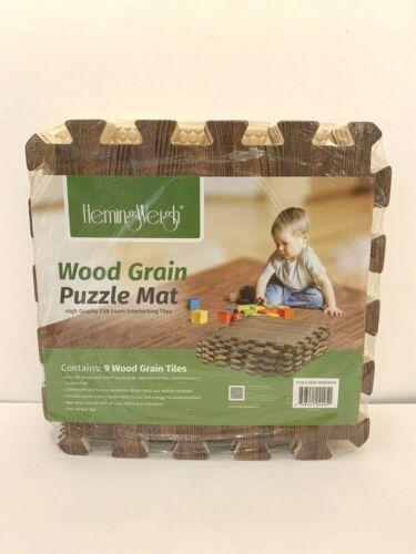 HemingWeigh Wood Grain Foam Anti Fatigue Puzzle Mats Dark Brown EVA Quality