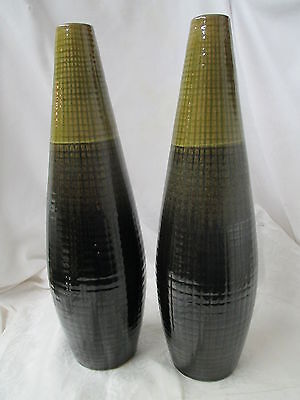 Vintage Mid Century Modern pr tall Vases A10 R24 Signed hand thrown olive green