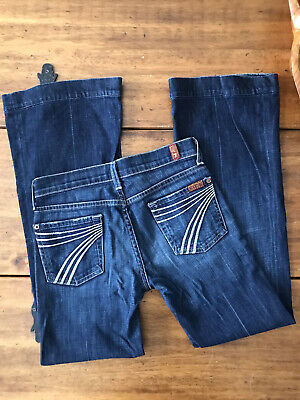 7 For All Mankind Dojo Jeans Low-Rise Flare Navy Size 25 RARE!