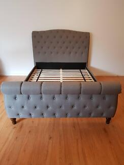 Manchester Noosa Queen Size Fabric Bed Frame in Grey RRP$1499