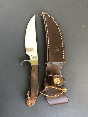 Vintage OLSEN OK H.C., MI. hunting knife fixed blade - LEATHER sheath EXCELLENT