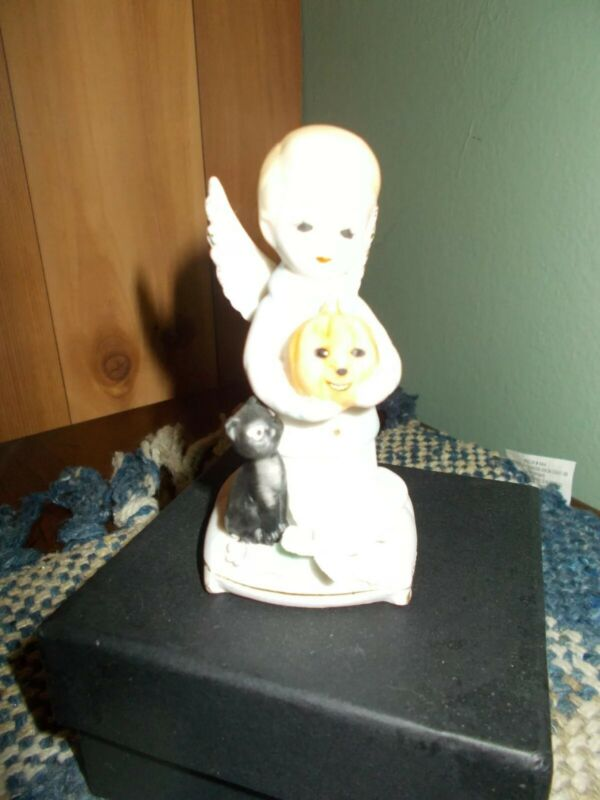Vintage Napcoware Rare Boy October Halloween Angel With Pumpkin and Cat MINT